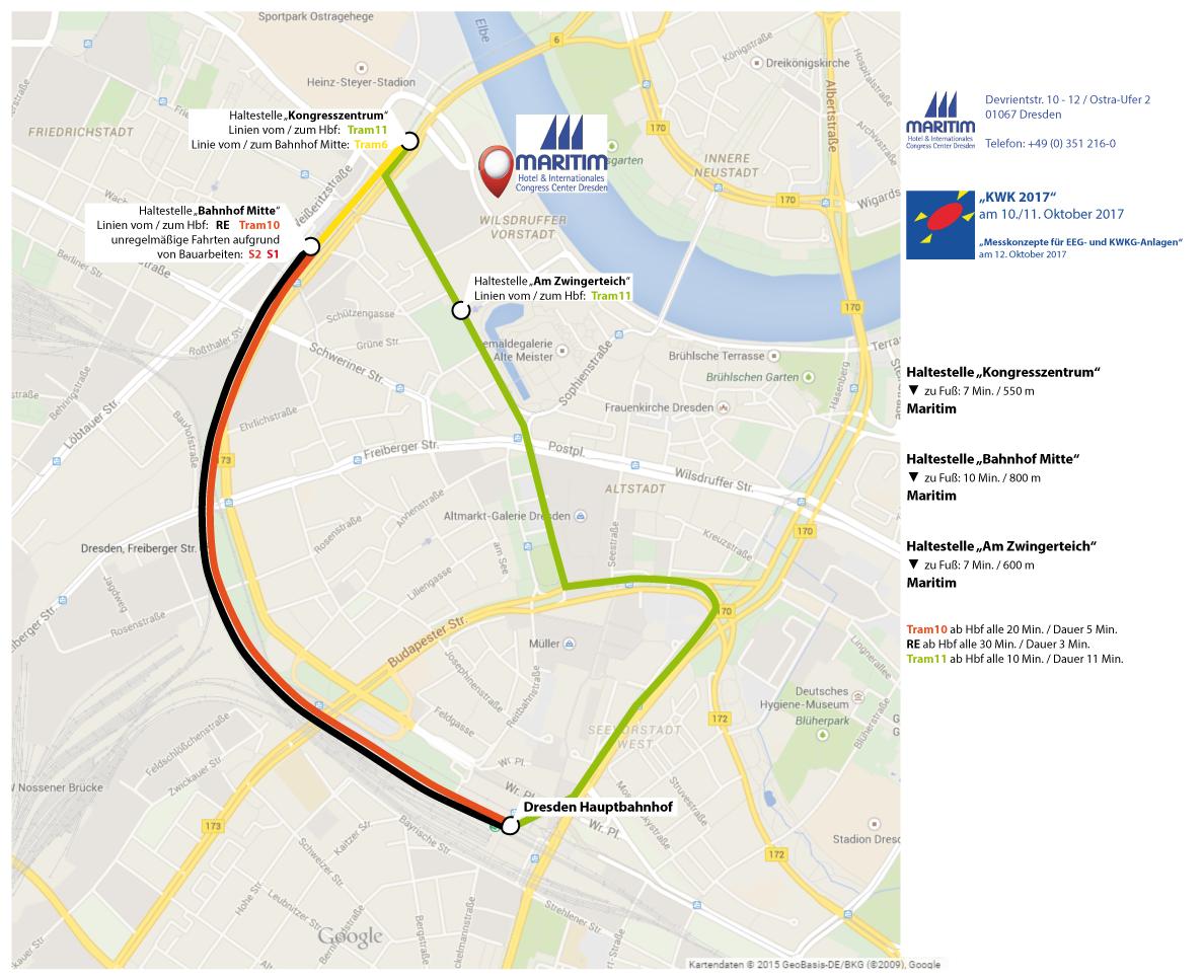 Laden Sie sich hier eine Übersicht über die Verbindungen vom Hauptbahnhof zum Hotel als PDF herunter.